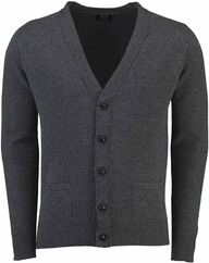 WILLIAM LOCKIE Lambswool Strickjacke anthrazit für Herren