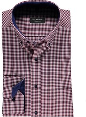 ETERNA Karo Hemd Comfort Fit Button-Down rot für Herren