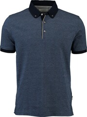 BUGATTI Polo-Shirt blau mit Button-Down-Kragen für Herren